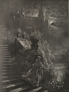 """~ Gustave Doré (1832–1883), Illustration for the folk tale """"Peau d'Âne"""" by Charles Perrault"""