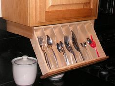 Under cabinet drawer Silverware Storage - Flatware Organizer by WoodenYouLoveThis on Etsy https://www.etsy.com/listing/224379125/under-cabinet-drawer-silverware-storage