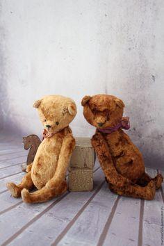 Купить Друзья с детства - коричневый, мишка, мишка тедди, мишка ручной работы, мишки