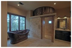 Texas Hill Country Master Bath, barrel shower, Timber and Stone Builders Hill Country Homes, Country House Design, Texas Hill Country, Custom Home Designs, Custom Homes, Rustic Contemporary, Stone Houses, Rustic Design, Building Design