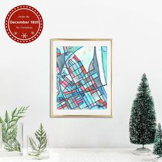 """@Carlandcartography posted to Instagram: """"Germantown"""" A Vertical Giclee Print. This is an abstract map of the Germantown neighborhood in Nashville. With chic restaurants in restored Victorian buildings, I tried to use colors that exude southern charm. The gray, pink, and blue mix together to form a soft and welcoming color palette. It is both bold and relaxed, and will be sure to spark conversation with guests! Save 25% Off When you spend $100+ Now- Dec 1. Tap the link in my bio for more…"""