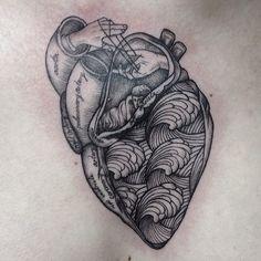Water waves design tattoo big cute love heart