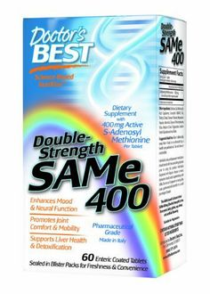 Doctor's Best SAM-e 400, 60-Count by Doctor's Best. $34.99. Potent Promoter of Mood and Cognitive Health After at least 18 controlled human trials, published over almost four decades, SAMe is clearly proven to promote healthy mood.5-12 The latest double-blind trial was published in 2010,7,8 and its findings were so impressive that the journal also published an editorial in praise of SAMe.9 This editorial attributed SAMe's marked mood benefits to its diverse role...