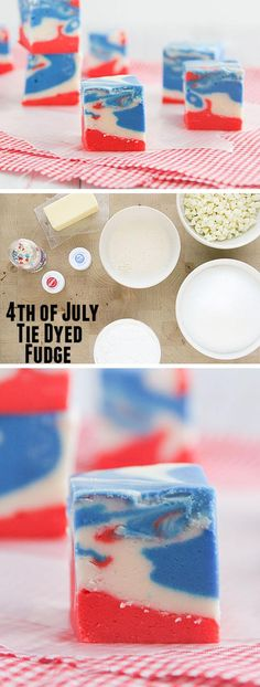 4th of July Tie Dyed Fudge   18 Easy 4th of July Desserts for Kids   Fourth of July Treats for Kids to Make