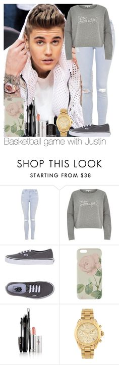 """Basketball game with Justin"" by niallgirl15 ❤ liked on Polyvore featuring mode, Topshop, River Island, Vans, Ted Baker, Lancôme, Michael Kors et Essie"