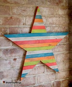 30 Fantastic DIY Pallets Wall Art Ideas___I want to make this star in red white and blue