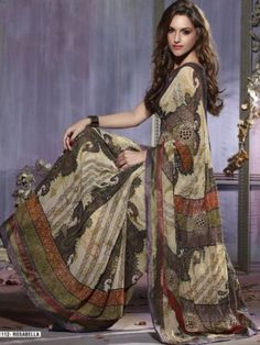 Cream Color Faux Georgette Printed Saree.