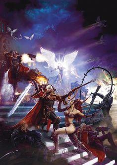 Adepta Sororitas battle Dark Eldar Kabal by. Warhammer 40000, Warhammer 40k Memes, Warhammer Art, Warhammer 40k Dark Eldar, Warhammer Inquisitor, Eldar 40k, Fantasy Kunst, Sci Fi Fantasy, Dark Fantasy