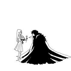 Alucard-Dracula & little Integra, Hellsing, flowers, ^_^