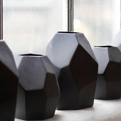 Black Geometric Vase Large