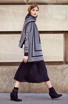 Vince Cashmere Cardigan, Turtleneck & Pleated Skirt  available at #Nordstrom