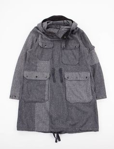 Engineered Garments Grey 2 Tone Wool Herringbone Over Parka