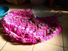 ビーズ編みの鉢カバー・・・吊れるタイプ
