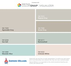 I found these colors with ColorSnap® Visualizer for iPhone by Sherwin-Williams: Agreeable Gray (SW 7029), Sea Salt (SW 6204), Meander Blue (SW 6484), Repose Gray (SW 7015), Anew Gray (SW 7030), Rainwashed (SW 6211), Intimate White (SW 6322).