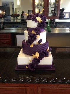 7 Exceptional Purple Color Combos to Rock for and deep purple wedding cake with plum flower decors for fall or winter weddings, diy wedding food Deep Purple Wedding, Purple Wedding Cakes, Plum Wedding, Beautiful Wedding Cakes, Beautiful Cakes, Wedding Colors, Wedding Day, Purple And Gold Wedding Themes, Eggplant Purple Wedding