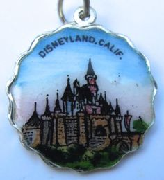 Vintage Enamel Travel Charm - Scalloped Round Edge - California - Disneyland
