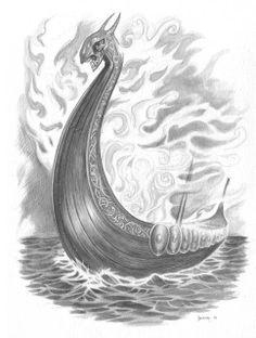 SciFi and Fantasy Art Viking Ghost Ship by David Bezzina