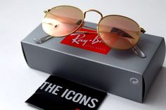 Authentic Ray Ban  Round Metal Sunglasses pink flash mirror lenses RB3447 50-21 #RayBan #Round