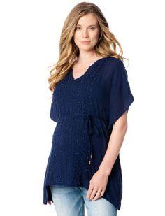 Flattering, feminine design ~ Jessica Simpson Short Sleeve Batwing Maternity Blouse #motherhoodmaternity
