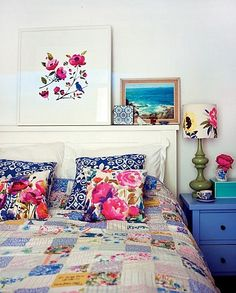 Lovely print mixed bedroom, found on La Petite Fashionista