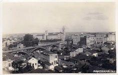 Downtown São Paulo in 1920: with no skyscrapers to be seen, Viaduto Santa Ifigênia bridge and São Bento Monastery dominate the landscape.