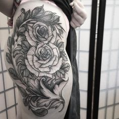Filigree with roses. #rosetattoo #filigree #tat #tatted #tattoo #tattoos #tattoogirl #authentink #sydney #sydneytattoo #blxckink #blackworkerssubmission #blacktattoo
