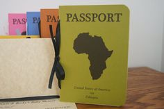 Passport Cards: For children adopted overseas, passport cards are a great option to send either as shower invites or announcement notes.   Source: Etsy user TheTipsyTurtle