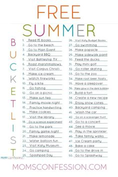 A summer bucket list is a great way to keep the kids busy during the summer months. School's Out For Summer, Summer Fun List, Summer Kids, Free Summer, Bucket List For Teens, Summer Bucket Lists, Bucket List Family, Summer Activities For Kids, Family Activities