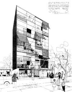 """Edificio de Apartamentos """"Tres Picos"""" 1957  Col. Polanco. México D.F.  Arq. Augusto Álvarez"""