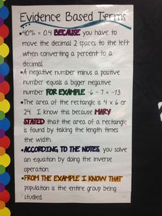 great anchor chart for Evidence Based Terms, to help students reason with their answers in math word problems