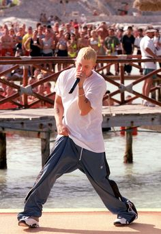 Eminem giving it his all to keep his sweatpants on: | 29 Things You Probably Forgot About MTV Spring Break 2000