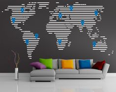 corporate wall graphics world map - Google Search