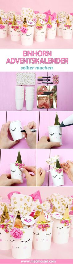 Tinker unicorn diy advent calendar - cute instructions for DIY! Isn't this unicorn DIY advent calendar super cute? The ingenious thing about it: Y Unicorn Diy, Unicorn Baby Shower, Unicorn Crafts, Unicorn Cups, Unicorn Birthday Parties, Birthday Diy, Unicorn Party, Diy For Kids, Crafts For Kids