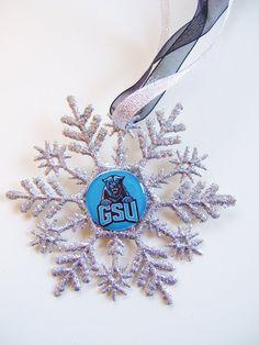 Georgia State University Handmade Glitter Snowflake by ZZsTeamTime