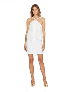 1653bcdd1ae46b LILLY PULITZER Size 12 PEARSON Lace Dress White Oyster Shell Halter New # LILLYPULITZER #SheathDress