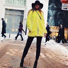 Zara Yellow Faux Fur Coat - Beautiful Wardrobe