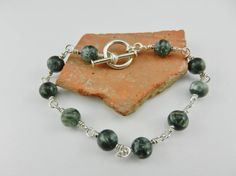 Seraphinite and Silver Bracelet ~ Wire Wrapped Sterling Silver