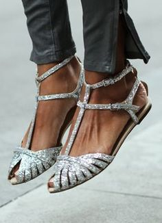 New zara 2013 silver glitter flat sandals shoes ankle straps eur 41, us 10