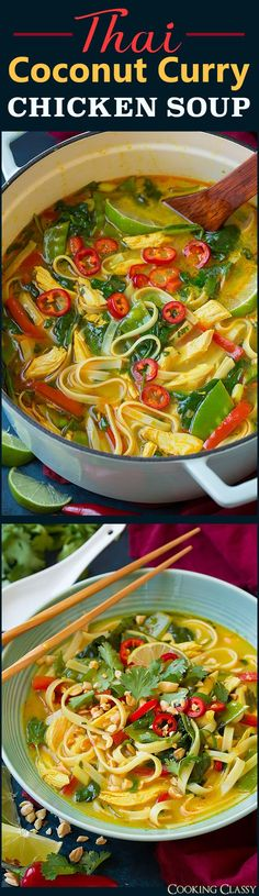 Thai Coconut Curry Chicken Soup – a hearty vegetable, chicken and noodle based soup with vibrant fresh Thai flavors! And you'll love the addition of crunchy peanuts to finish it off. It's the perfect soup recipe to make year round. Asian Recipes, New Recipes, Soup Recipes, Chicken Recipes, Cooking Recipes, Favorite Recipes, Healthy Recipes, Chicken Flavors, Coconut Curry Chicken Soup