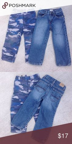 Children's Place Denims and Blue Camo Pants - 3T Straight leg denim, front and back pockets, snap and zip, adjustable waist. 100% Cotton. Like new condition. Blue camouflage pants, front pockets, adjustable waist. 100% Cotton. New condition. Children's Place Bottoms