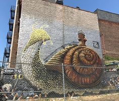 Cute snail  in Brooklyn - right in the middle of the heat wave  #brooklyn #nyc #newyorkcity #graffiti #mural #wallart #travelblogrepeat July 04 2018 at 03:09AM