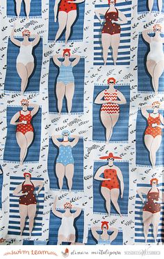 """The towels, bathing suits, and the """"sand"""" are all made up of patterns"""