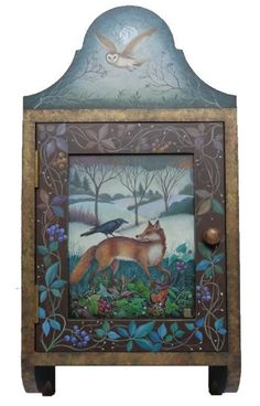 Hand painted cupboard 'Twilight Crow' - Old Chapel Gallery Funky Painted Furniture, Plywood Furniture, Painted Dressers, Modern Furniture, Furniture Design, Wood Painting Art, Tole Painting, Armoire Design, Painted Cupboards