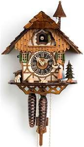 Hones 1 Day Chalet 1294 Cuckoo Clock – This scene brings back the good old days of small town villages! The bell ringer moves as it rings the bell ringer. A little pile of wood suggests that the wood chopper has recently finished up his day's work. Black Forest House, Black Forest Germany, Forest Girl, What Is A Chalet, Coo Coo Clock, Cute Clock, Cosy Home, Chalet Style, Bell Ringers