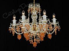 dig'n the orange crystals - Orange Chandeliers, Orange Crystals, Lamps, Sparkle, Ceiling Lights, Home Decor, Lightbulbs, Decoration Home, Room Decor
