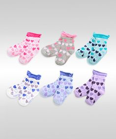 Loving this Pink & Blue Heart Roll-Top Socks Set on #zulily! #zulilyfinds