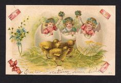 Wonderful Easter Postcard Featuring Pretty Girls in Cracked Eggs and Chicks