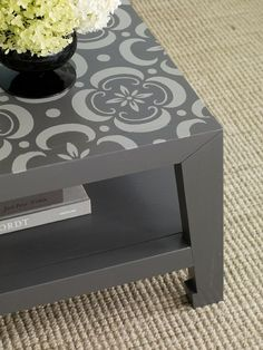 painted and stenciled coffee table, I am doing this to my coffee table. Love the grey paint