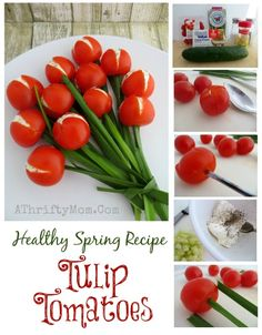 Healthy Spring recipe Tulip Tomatoes, fun vegetable side dishes, garden party recipe ideas, Summer food, DIY Tomatoes and green onions Healthy Spring Recipes, Summer Recipes, Holiday Recipes, Yummy Veggie, Veggie Tray, Recipe For Mom, Recipe Ideas, Mothers Day Brunch, Vegetable Side Dishes