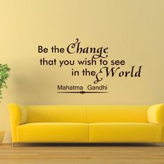 Wall Decals Mahatma Gandhi Quote Decal Vinyl Sticker Saying Be the Change That You Wish to See in the World Yoga Bedroom Room Home Decor Mural Sb5 #mahatma #gandhi #quotes #quote #office #decor #art #home #wall #decal #sticker #mural